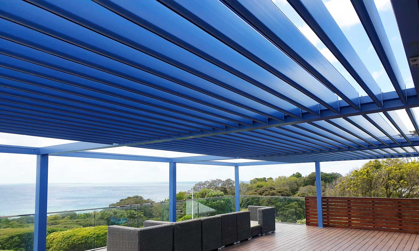 Global Blinds Blue Pergola